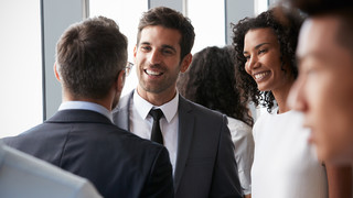 Networking during a classy evening event